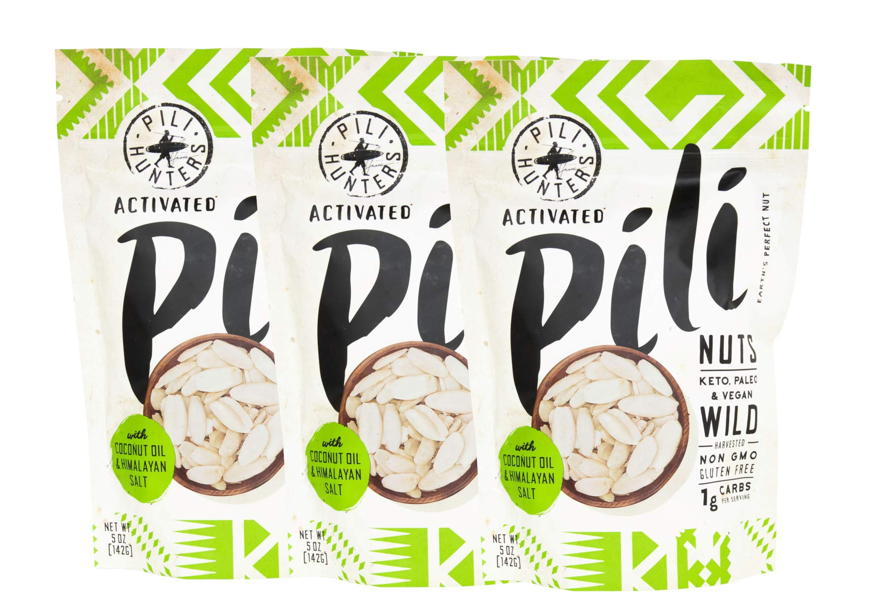 Pili Hunters Pili Nuts, AS SEEN ON SHARK TANK, Himalayan Salt and Coconut MCT Oil, The Original Wild Sprouted Pili Nut, Perfect Keto Friendly Snack, Vegan, Paleo and Keto Certified, Three 5 Ounce Bag