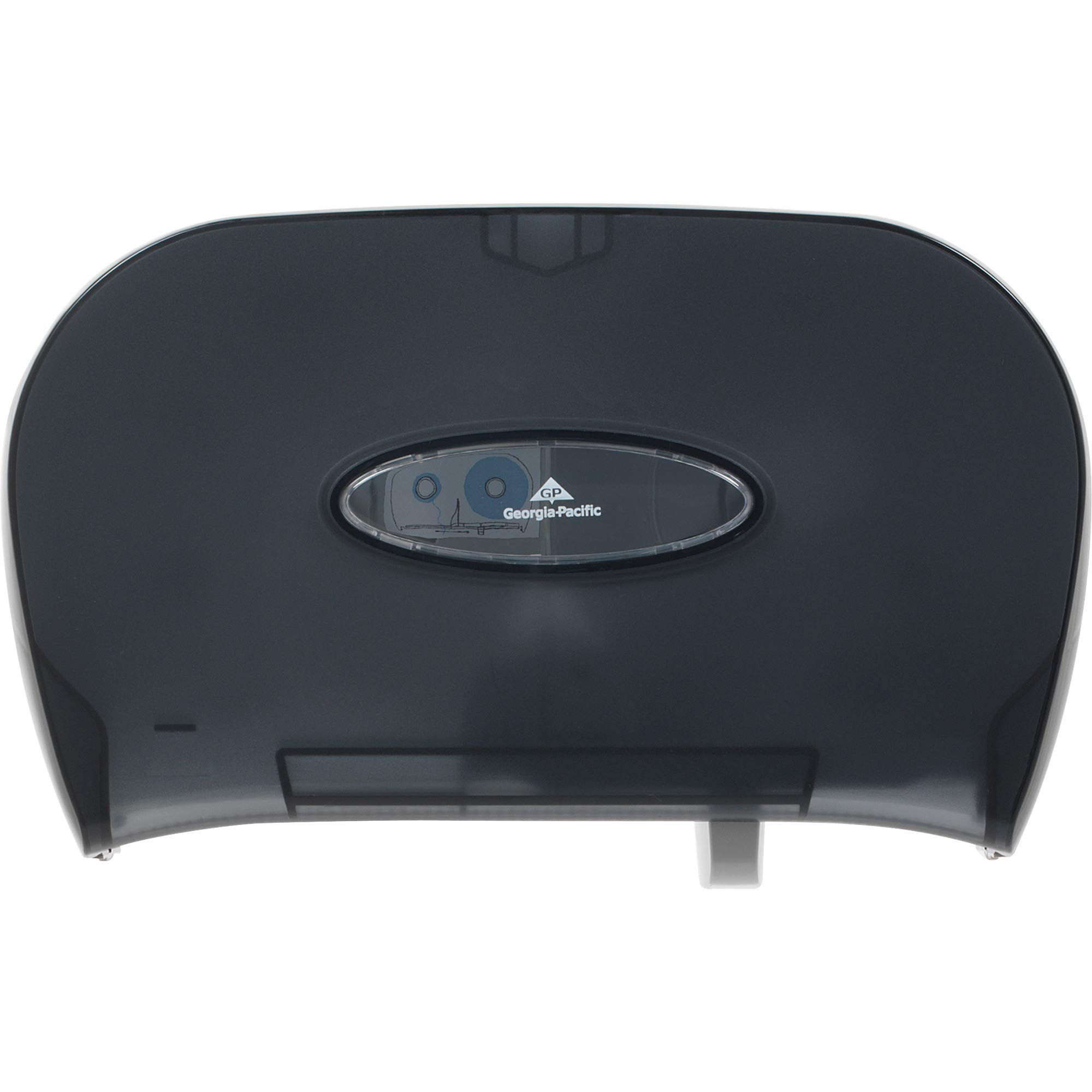 """Two Roll Side-by-Side Covered Single Roll Toilet Paper Dispenser by GP PRO (Georgia-Pacific), Translucent Smoke, 59206, 13.580"""" W x 5.730"""" D x 8.590"""" H"""