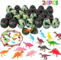 ThinkMax 24 PCs Easter Eggs with Mini Dinosaur Toys Prefilled, Dinosaur Eggs, Easter Party Favor for Kids