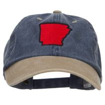 e4Hats.com Arkansas Map Embroidered Washed Two Tone Cap