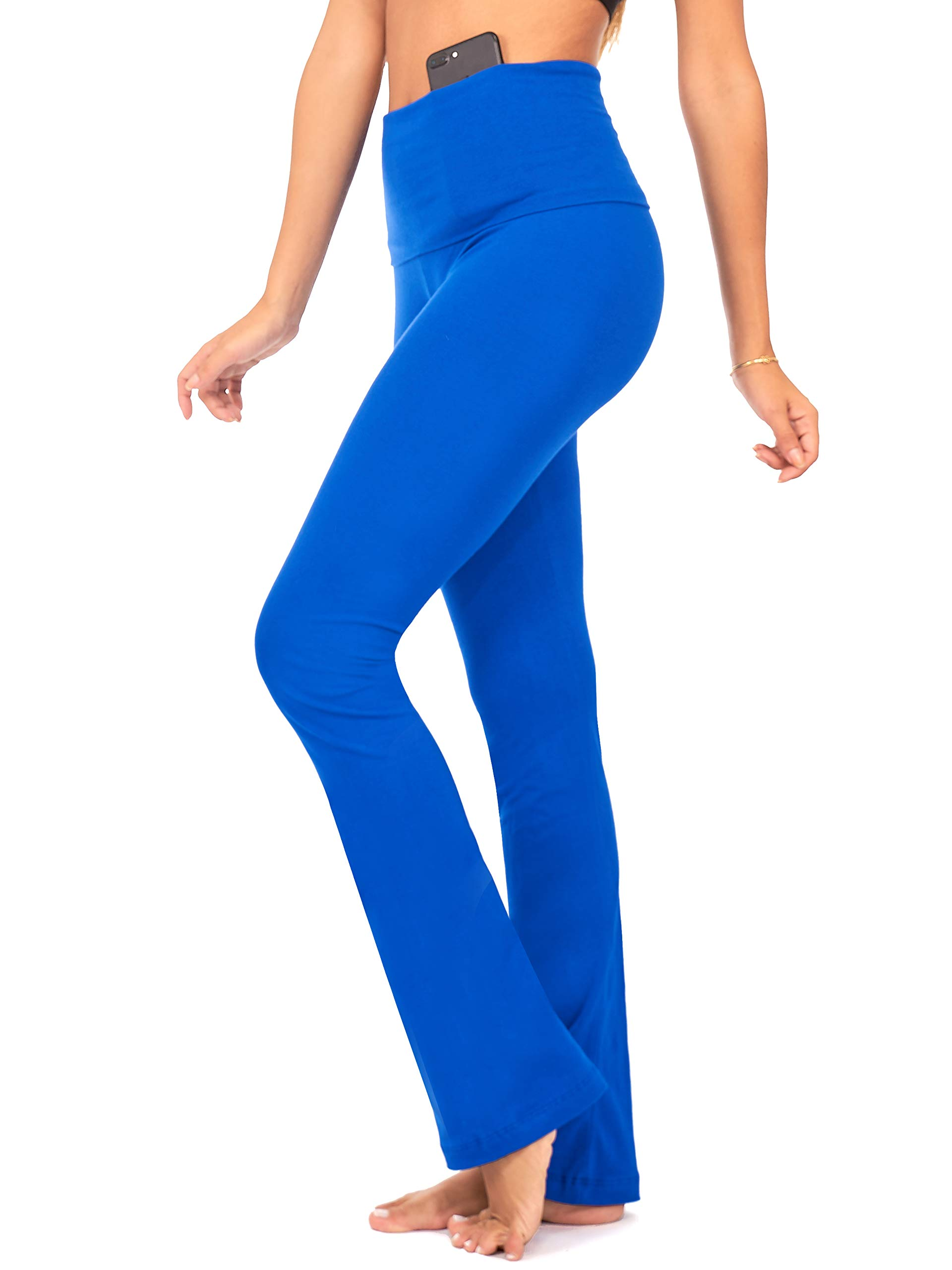 DEAR SPARKLE Bootcut Fold Over Leggings for Women | Slim Look Bootleg Yoga Pants w Pocket + Plus Size (C5 F)
