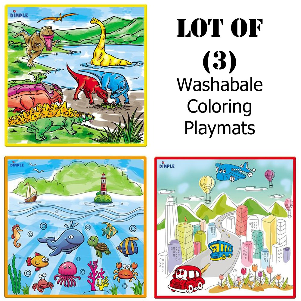Lot of (3) - Large Washable Kids Coloring Play Mats with 'Fantastic Sea Life, City Life & Jurassic Dinosaur Era Designs, with 36 Washable Markers, 'Perfect Alternative for Coloring Books' by Dimple