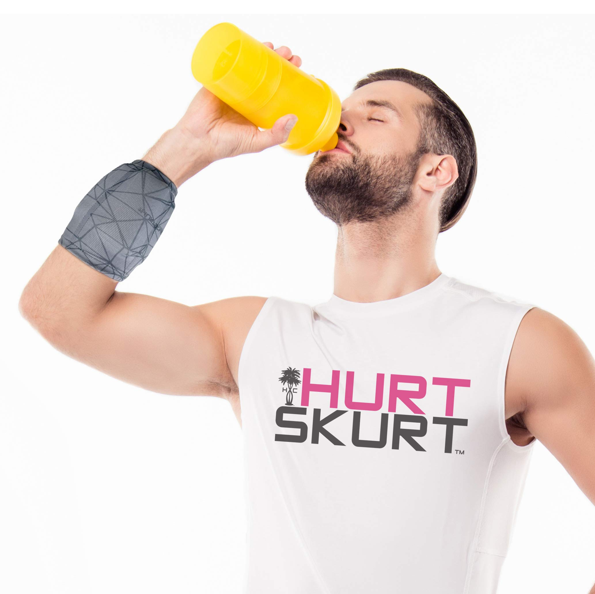 HurtSkurt - 2 in 1 - Harness-Free Fashionable Cold Therapy Compression Gel Sleeve & Ice Pack Stretch-to-Fit Small (Blackout)