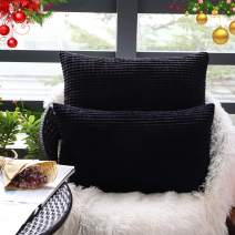 """Set of 2,Decorative Lumbar Throw Pillow Covers 12""""x20"""" (No Insert),Solid Cozy Corduroy Corn Stripe Pattern Pillow Case Shams,Soft Rectangle Cushion Covers with Zipper for Couch/Sofa/Bedroom,Black"""