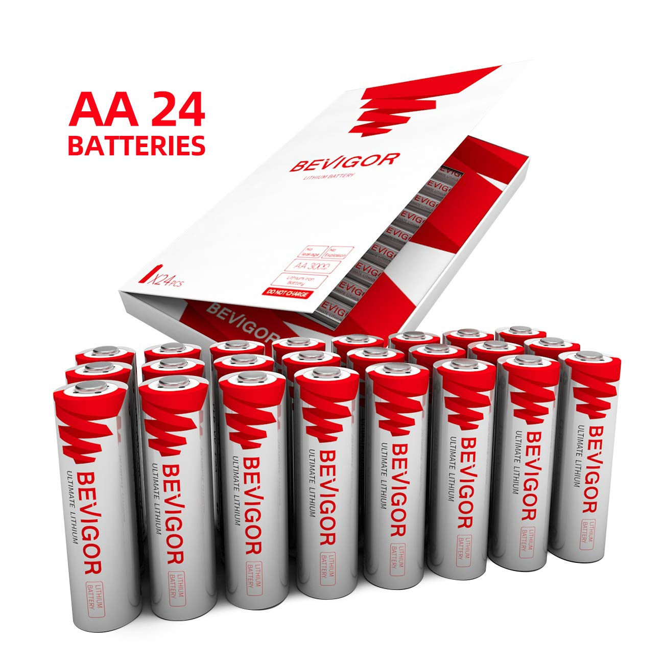 Bevigor AA Lithium Batteries, 24Pack Ultimate Lithium Double A Batteries, 1.5V 3000mAh Longer Lasting AA Batteries for Flashlight, Toys, Remote Control, Non-Rechargeable