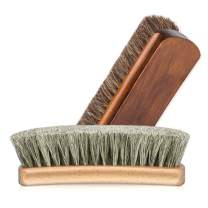 "6.7"" Horsehair Shoe Shine Brushes with Horse Hair Bristles for Boots, Shoes & Other Leather Care, 2 Pack"