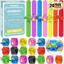 POKONBOY Dinosaur Slap Bracelets Dinosaur Party Favors - 24 Pack Silicone Slap Soft Dinosaur Bracelets Toys for Kids Dinosaur Birthday Party Supplies Boys Girls Party Favors Gifts Carnival Prizes Random color