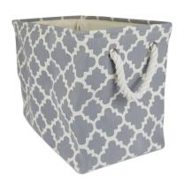 DII Collapsible Polyester Storage Basket or Bin with Durable Cotton Handles, Home Organizer Solution for Office, Bedroom, Closet, Toys, Laundry (Medium – 16x10x12), Gray Lattice