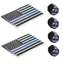 Dsycar 2 Pack USA Flag Emblem American Embossed Chrome Metal Flag Car Stickers for Cars Trucks - Gifts 4 Free American Flag Valve Stem Caps (Black Blue USA)