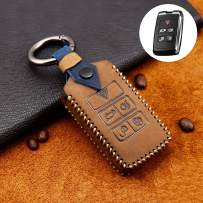 ontto Key Fob Cover for 2018 2019 Land Rover Range Rover Remote Keycase Shell Holder Genium Leather Protector Keychain Brown