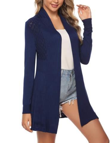 Sykooria Women's Long Cardigan Sweater Open Front Lightweight Knitted Crochet Sweaters S-XXL