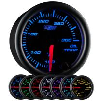 "GlowShift Black 7 Color 300 F Oil Temperature Gauge Kit - Includes Electronic Sensor - Black Dial - Clear Lens - for Car & Truck - 2-1/16"" 52mm"