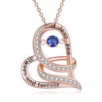 TOUPOP,Gifts for Mom s925 Sterling Silver Necklace with Birthstone Rose Gold I Love You Always and Forever Beating Heart Jewelry Gifts for Women Mother's Day Birthday Friend Girls
