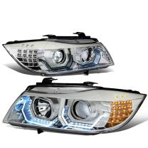 3D Crystal U-Halo angel Eye Chrome Housing LED Turn Signal Headlight Lamps Replacement for BMW E90 3-Series 4-Dr 09-12