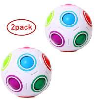 LiangCuber Bundle 2 pcs Rainbow Ball Magic Cube Puzzle Magic Rainbow Cube Ball Brain Teaser with 11 Rainbow Colors