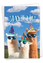 NobleWorks, Cool Llamas Partygoers - Funny Card for Birthday - Party Animals, Cool Bday Surprise Notecard with Envelope C7188BDG