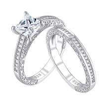 Wuziwen Vintage Princess CZ Engagement Rings Wedding Sets for Women Sterling Silver
