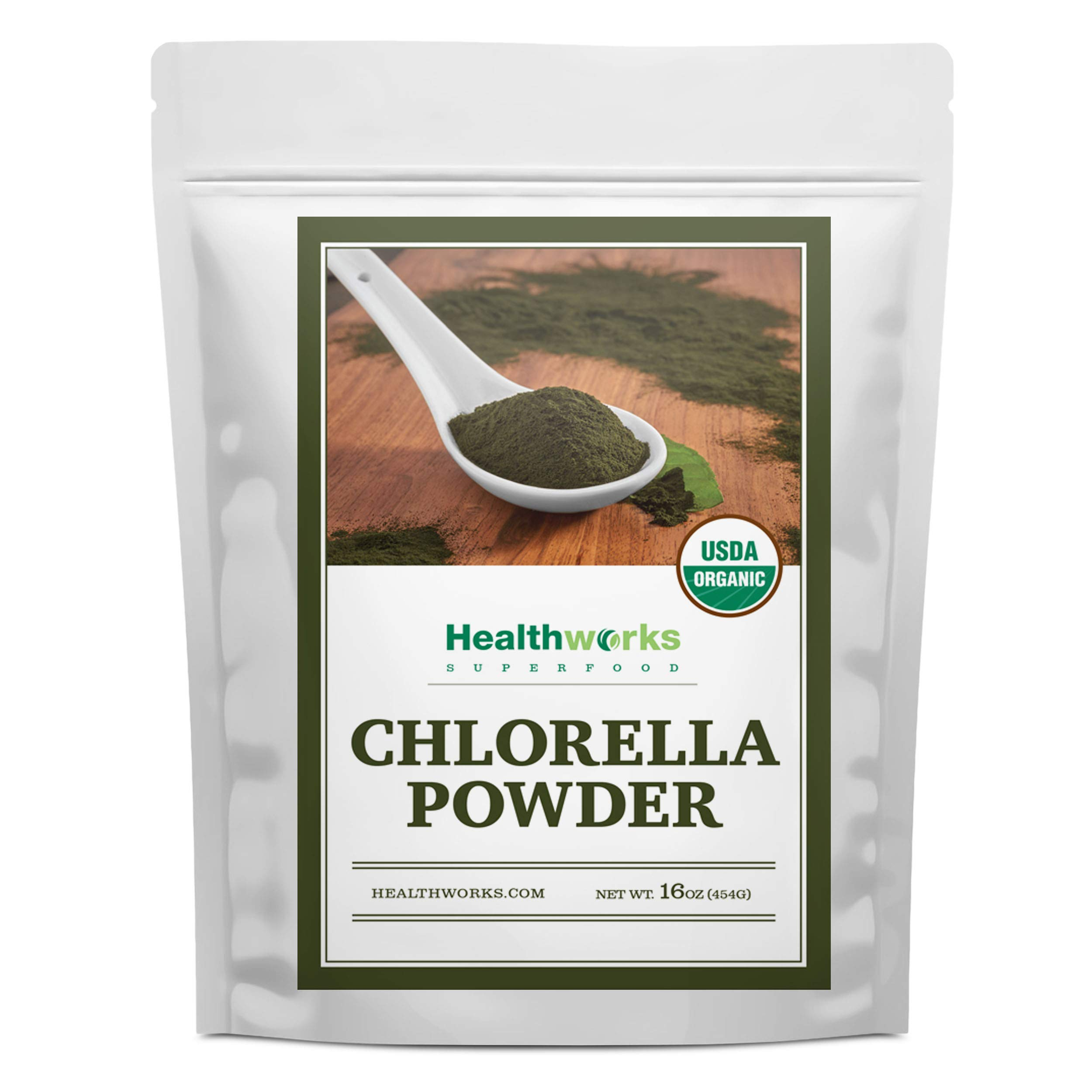 Healthworks Chlorella Powder Organic (16 Ounces / 1 Pound) | Broken Cell Wall & All-Natural | Protein, Vitamin C & E | Great with Smoothies & Baked Goods