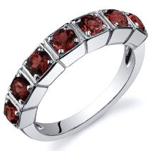 7 Stone 1.75 Carats Garnet Band Ring in Sterling Silver Rhodium Nickel Finish Sizes 5 to 9