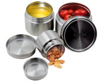CoaGu 18/8 Stainless Steel Containers Bento Box Canisters Sets for Your Lunch, Kitchen, Pack of 3(8oz,16oz,24oz) BPA Free Dishwasher Safe