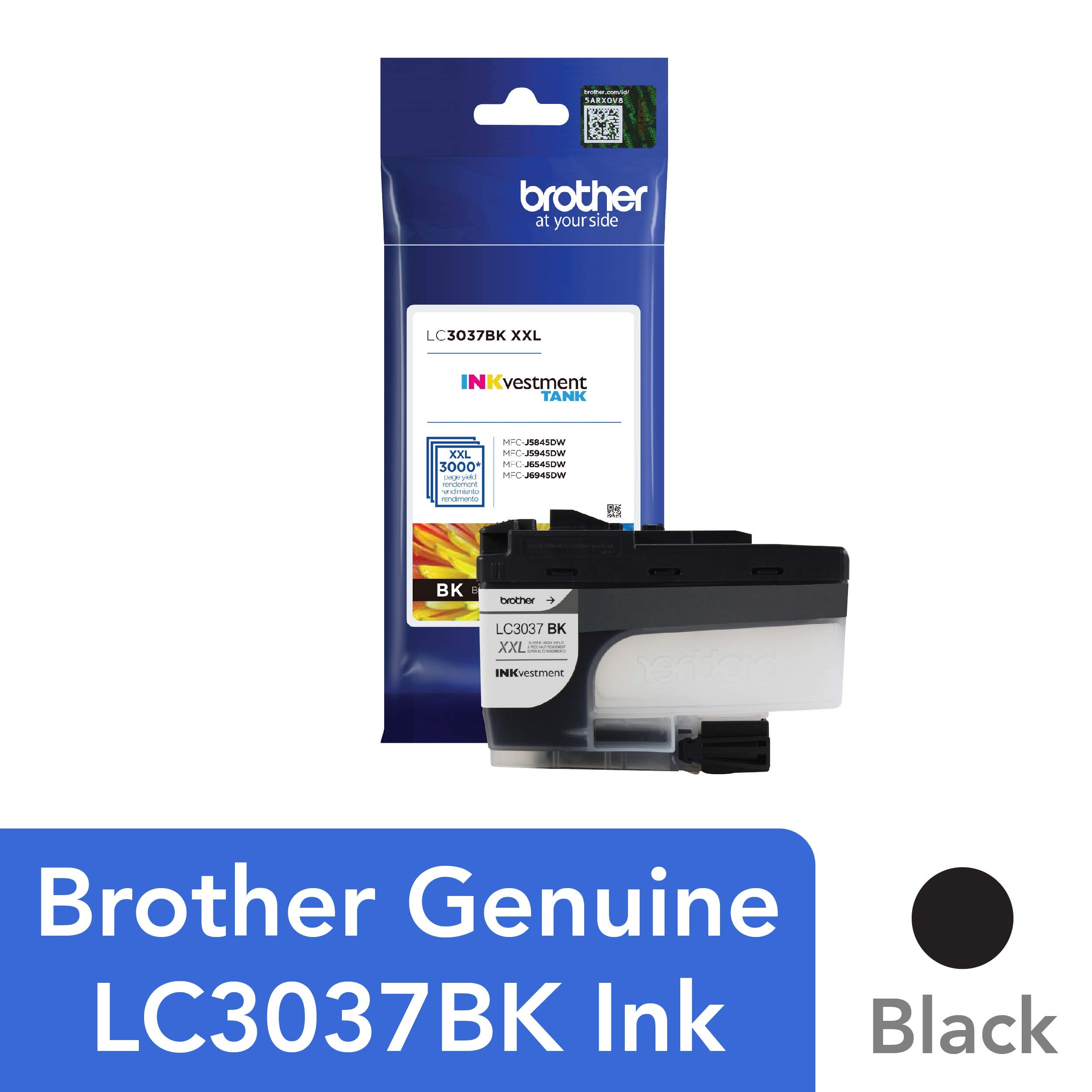 Brother Genuine LC3037BK, Single Pack Super High-Yield Black INKvestment Tank Ink Cartridge, Page Yield Up to 3,000 Pages, LC3037, Amazon Dash Replenishment Cartridge