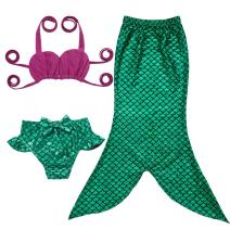 JFEELE 3pcs Toddler Mermaid Swimsuit for Baby Girls Mermaid Tail Bathing Suit Bikini Swimming Set - 2-8T