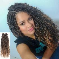 Curly Faux Locs Crochet Hair 14 Inch One Packs New Goddess Locs Crochet Hair Pre Looped Boho Hippie Synthetic Braids For Black Women Hair Extensions(14 Inch(pack of 1),T1B/27)
