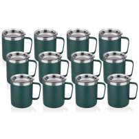 HASLE OUTFITTERS 12 oz Stainless Steel Insulated Coffee Mug with Handle, Metal Double Wall Vacuum Travel Mug, Reusable Tumbler Cup with Lid, Dark Green Set of 12