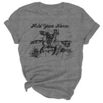 Hold Your Horses T Shirt Women Funny Rodeo Graphic Tees Vintage Cowboy Vacation Short Sleeve Shirts Tops