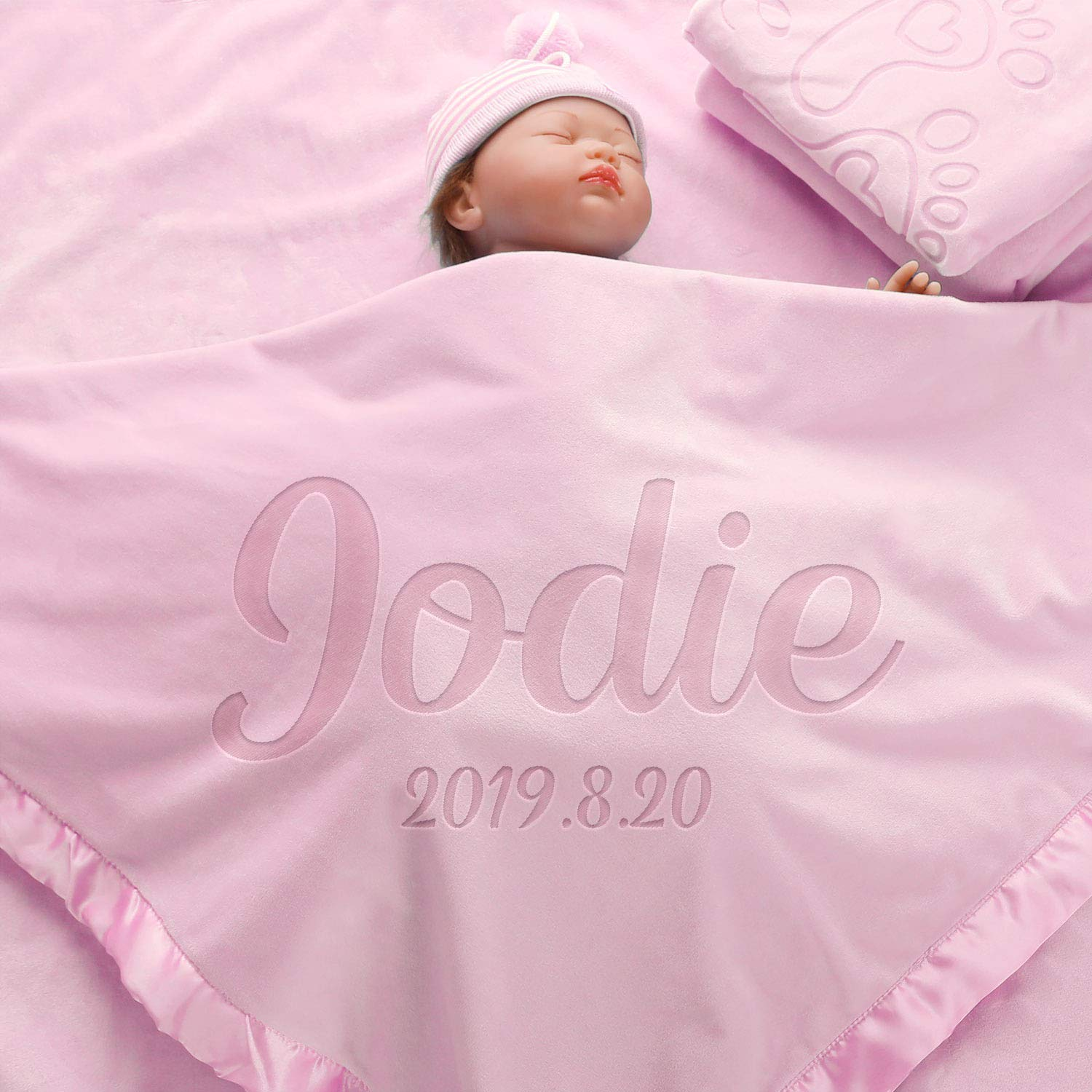 AW BRIDAL Personalized Baby Blanket for Boys Girls Newborn Gifts Bassinet Infant Receiving Blankets Crib Bedding Shower Gift