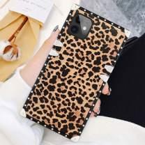 SOKAD iPhone 11 Case 6.1 Inch Square Leopard Luxury Elegant Soft TPU Shockproof Protective Metal Decoration Corner Back Cover Case