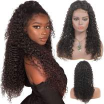 FU SHEN Lace Closure Curly Human Hair Wigs with 130% Density, 4×4 Lace Closure Three Part 100% Brazilian Water Wave Wigs for African American Women, Curly Human Hair Wigs with Baby Hair Pre Plucked-12