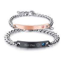 Cupimatch 2pcs CZ His and Hers Couple Bracelets Set, Adjustable Titanium Stainless Steel His Only Her One Love Heart Matching Bracelet Link Jewelry Set