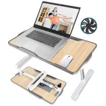 """Laptop Desk for Bed, JZBRAIN Adjustable Laptop Bed Tray with Internal Cooling Fan, Portable Foldable Standing Laptop Desk for Working Reading Gaming on Bed Couch Floor, Fits for 17"""" Laptop or Smaller"""