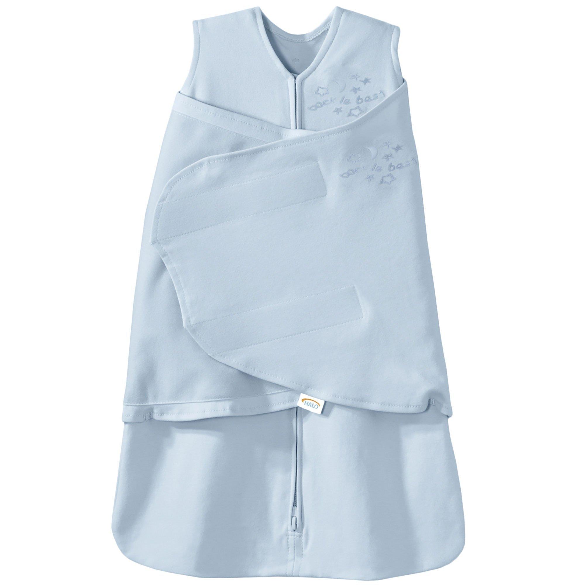 HALO SleepSack 100% Cotton Swaddle, Baby Blue, Newborn