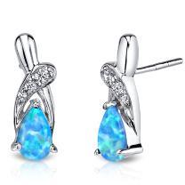 Created Powder Blue Opal Ribbon Earrings Sterling Silver 1.00 Carats