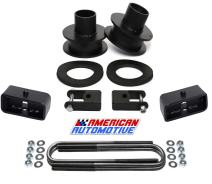 """American Automotive F250 F350 SuperDuty Lift Kit 4WD 2.5"""" Front Spring Spacers + 2"""" Rear Blocks + Shock Relocation Brackets"""