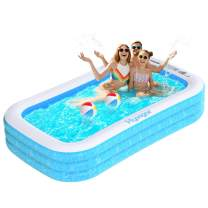 "Hyvigor Inflatable Swimming Pool, 95""x56""x22"" Inflatable Kiddie Pools, Wear-Resistant Blow Up Pool for Kids, Adults, Babies, Toddlers, Outdoor, Garden, Backyard, for Ages 3+"