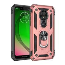 Rebex Motorola G7 Play Case Cover,Moto G7 Play Case,Tough Heavy Protective 360 Metal Rotating Ring Kickstand Holder Grip Built-in Magnetic Metal Plate Armor Heavy Duty Shockproof(Rose Gold)