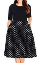Nemidor Women's Floral Print Vintage Style Plus Size Swing Casual Party Dress (20W, Black Dot)