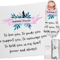 Ocean Drop 100% Cotton Muslin Swaddle Baby Blanket – 'I Promise' Quote with Gift Box for Baptism, Christening Gift, Godson, Goddaughter, Boy or Girl, Baby Shower – Super Soft, Breathable, Large 47x47""