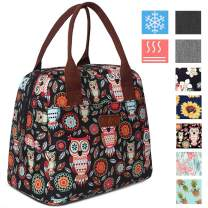 DIIG Lunch Box for Women, Insulated Lunch Bags for Women, Large Cooler Tote For Work, Floral Reusable Snack Bag with Pocket, Sunflower Printing/Gray/Black/White (Owl)