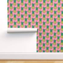 Spoonflower Peel and Stick Removable Wallpaper, Pineapples Pink Yellow Green Tropical Pineapple Fruit Summer Hawaii Fruits Print, Self-Adhesive Wallpaper 24in x 144in Roll
