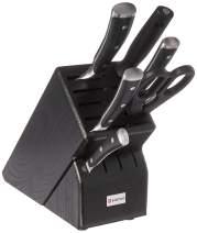 WÜSTHOF CLASSIC IKON Seven Piece Knife Block Set |7-Piece German Knife Set | Precision Forged High Carbon Stainless Steel Kitchen Knife Set with 15 Slot Black Wood Block – Model 8347-4