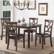 Baysitone 5 Pieces Dining Table Set with 4 Leather Upholstery Chairs, Wood Kitchen Table and Chairs for 4/Breakfast Nook Furniture for Home, Dining Room, Small Space (Brown-1)
