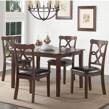 Baysitone 5 Pieces Dining Table Set With 4 Leather Upholstery Chairs Wood Kitchen Table And Chairs For 4 Breakfast Nook Furniture For Home Dining Room Small Space Brown 1