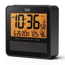 """hito 3.7"""" Atomic Travel Alarm Clock with Solar Panel, Date Day Indoor Temperature Humidity, Amber Backlight- Battery Operated"""