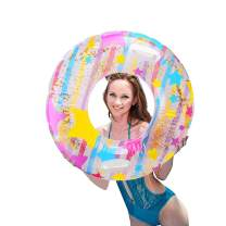 """IAMGlobal Glitter Pool Float, Inflatable Stars Swim Ring with Handle, Colorful Swim Party Toys, Party Lounge Raft, Swimming Float, Beach Floatie for Fun (35"""")"""