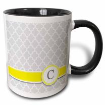 3dRose Your personal name initial letter C Mug, 11 oz, Black