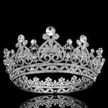 COCIDE Silver Crown for Women Crystal Queen Crowns and Tiaras Girls Full Round Wedding Headband Hair Accessories for Birthday Pageant Prom Bridal Party Halloween Costume